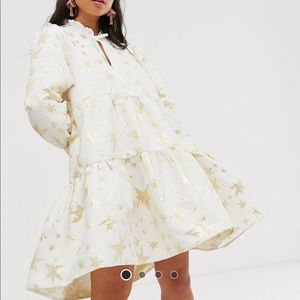 Sister jane tiered dress in gold star jacquard